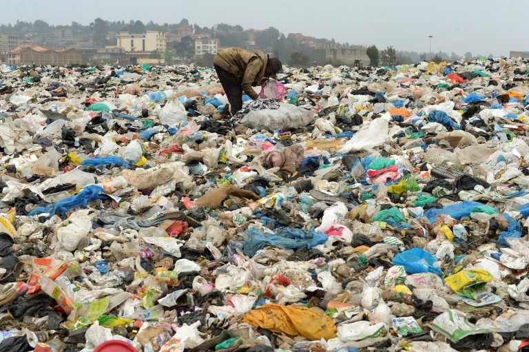 a land full of plastics and garbages
