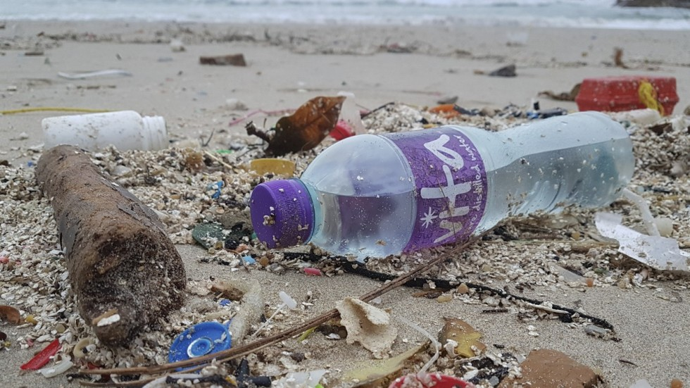 close-up photo of plastic water bottle and other trashes scattered in the shore