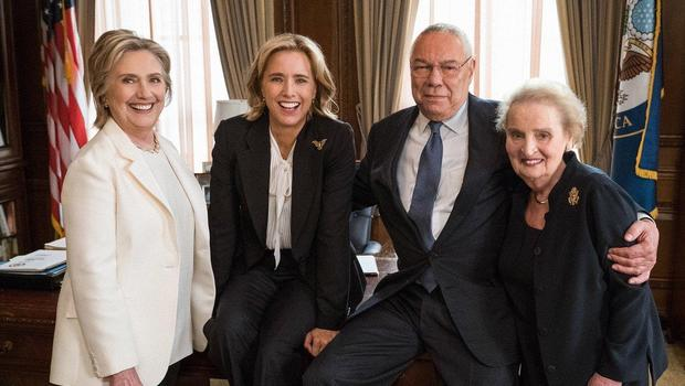 Hillary Clinton, Colin Powell and cast of tv series Madam Seccretary