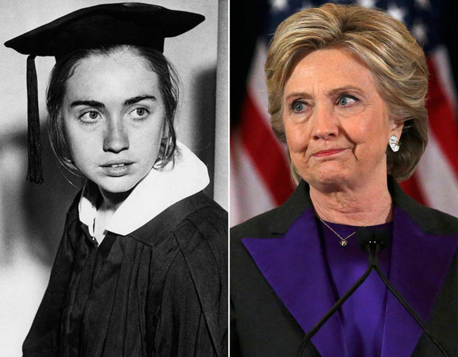 photo of a young Hilary Clinton on the left and recent photo of Hilary Clinton