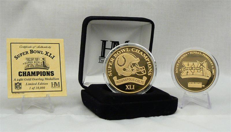 photo of limited edition Super Bowl XLI Certificate and two  tokens