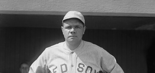 Black and white photo of Babe Ruth
