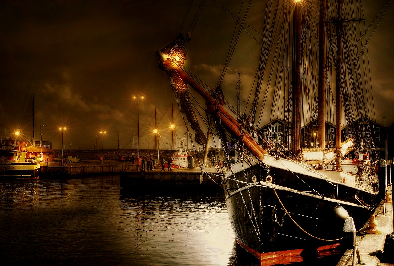 Painting of a sailing vessel in Denmark Port